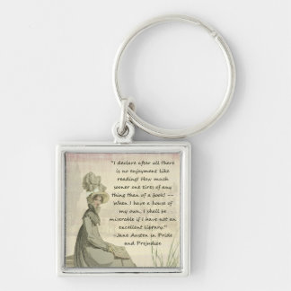 Jane Austen Book Lovers Silver-Colored Square Keychain