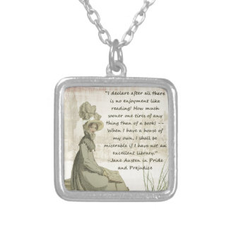Jane Austen Book Lovers Silver Plated Necklace