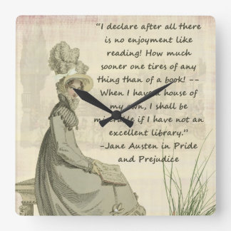 Jane Austen Book Lovers Square Wall Clock