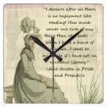 Jane Austen Book Lovers Square Wallclock