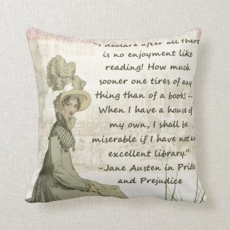 Jane Austen Book Lovers Throw Pillow