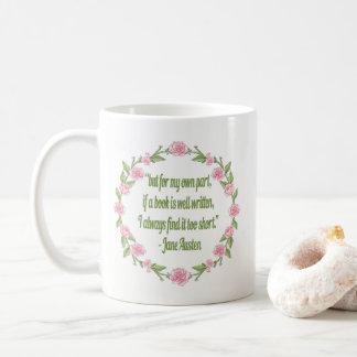 Jane Austen Book Quote - Pink Roses Coffee Mug