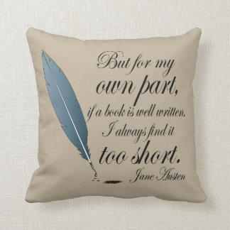 Jane Austen Book Well Written Quote Throw Pillow