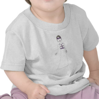 Jane Austen button eye Purple T Shirt
