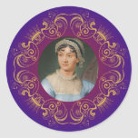 Jane Austen Color Portrait in Gold Swirl Frame Classic Round Sticker