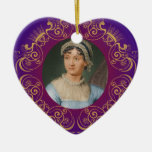 Jane Austen Color Portrait in Gold Swirl Frame Double-Sided Heart Ceramic Christmas Ornament