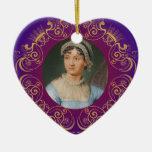 Jane Austen Color Portrait in Gold Swirl Frame Ornament