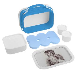 Jane Austen con una caja del almuerzo de la sonris