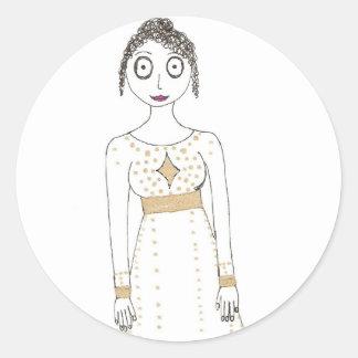 Jane Austen Creepy Gold Classic Round Sticker