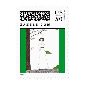 Jane Austen Creepy Rice Painting Postage
