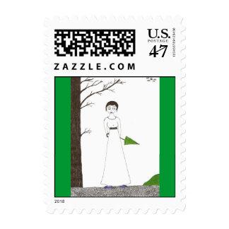 Jane Austen Creepy Rice Painting Postage Stamp