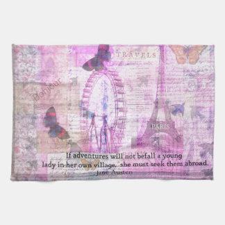 Jane Austen cute Travel quotation Hand Towel