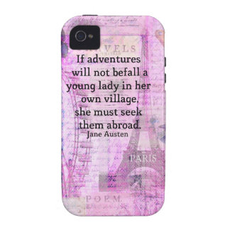 Jane Austen cute  travel quote with art Case For The iPhone 4