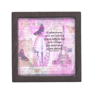 Jane Austen cute  travel quote with art Gift Box