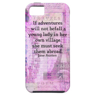 Jane Austen cute  travel quote with art iPhone 5 Cases