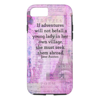 Jane Austen cute  travel quote with art iPhone 7 Case