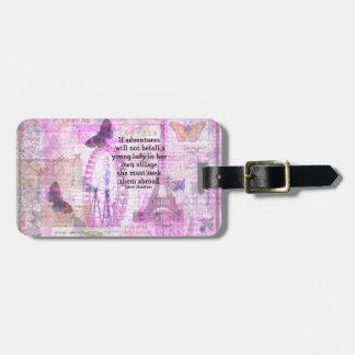 Jane Austen cute  travel quote with art Travel Bag Tags