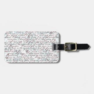Jane Austen Damask Tag For Luggage