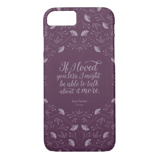 Jane Austen Emma Book Purple Floral Love Quote iPhone 8/7 Case