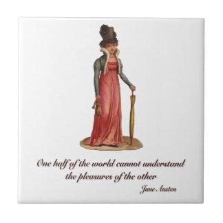 Jane Austen en el malentendido Azulejo Cuadrado Pequeño