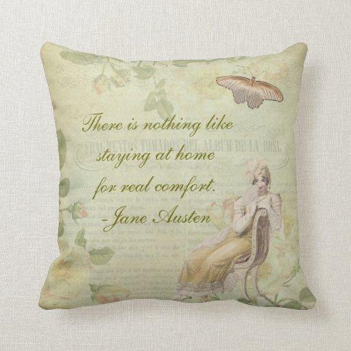 Jane Austen Floral Pillow