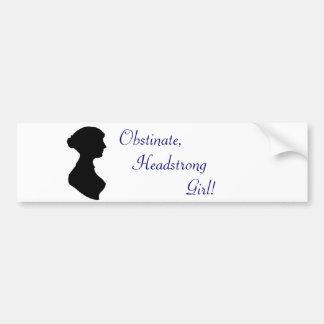 Jane Austen Headstrong Girl Car Bumper Sticker