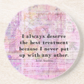 Jane Austen humorous quote with cheerful art image Coaster
