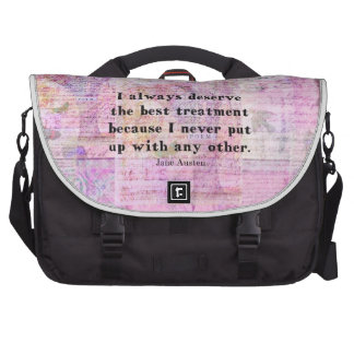 Jane Austen humorous quote with cheerful art image Computer Bag