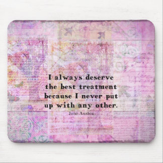 Jane Austen humorous quote with cheerful art image Mouse Pads
