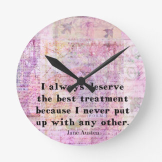 Jane Austen humorous quote with cheerful art image Round Clock