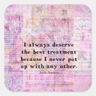 Jane Austen humorous quote with cheerful art image Square Sticker