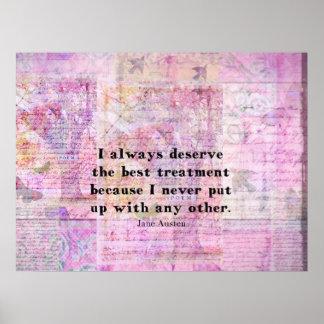 Jane Austen humorous quote with cheerful art print