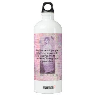 Jane Austen humorous snarky quote Aluminum Water Bottle