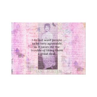 Jane Austen humorous snarky quote art Canvas Print