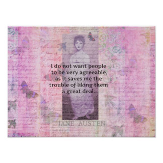 Jane Austen humorous snarky quote art Poster