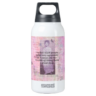 Jane Austen humorous snarky quote Insulated Water Bottle