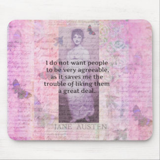 Jane Austen humorous snarky quote Mouse Pads