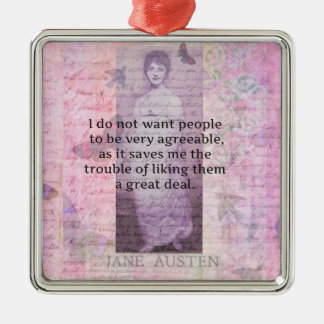 Jane Austen humorous snarky quote Christmas Tree Ornaments