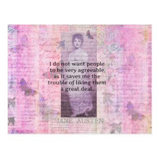 Jane Austen humorous snarky quote Postcard