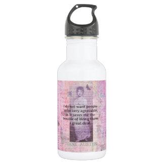 Jane Austen humorous snarky quote Water Bottle