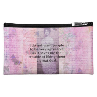 Jane Austen humorous snarky quote watercolor Cosmetic Bag