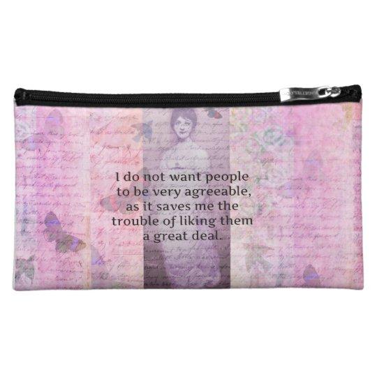 Jane Austen humorous snarky quote watercolor Cosmetic Bag
