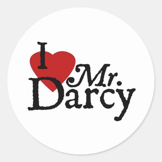 Jane Austen I LOVE Mr. Darcy Classic Round Sticker