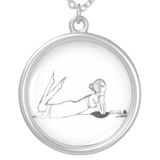 Jane Austen inking Pride and prejudice Silver Plated Necklace