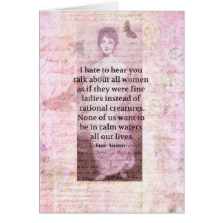 Jane Austen Inspirational quote empowerment women Card
