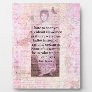 Jane Austen Inspirational quote empowerment women Plaque