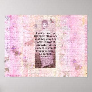 Jane Austen Inspirational quote empowerment women Poster