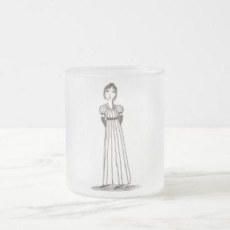 Jane Austen Inspired striped Dress Frosted Glass Coffee Mug