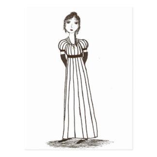 Jane Austen Inspired striped Dress Postcard