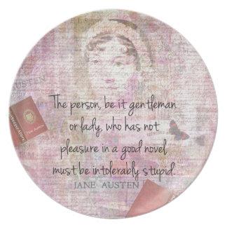 Jane Austen  Intolerably Stupid quote humor Dinner Plate